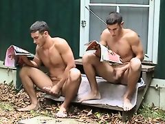Buddies Jerking Off Together At Camp
