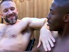 Interracial workmen take a break