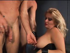 Thick mistress having fun with 2 bi slaves