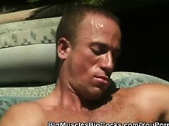 Muscled Hunks Cock Sucking By The Pool