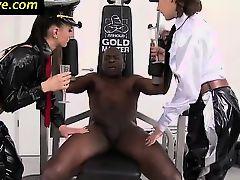 Femdom babes tug black cock