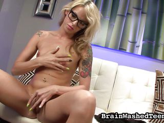 nerdy blonde wants her master's cock