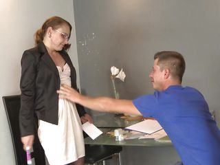teacher teaches her younger student