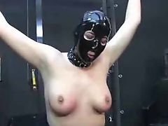 Hooded slave punished and used