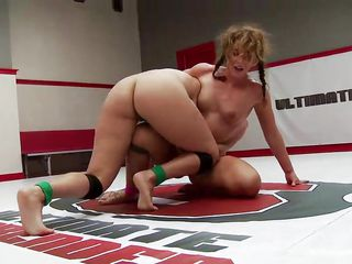 lesbian lovers fight it out in the wrestling ring