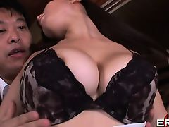 Busty Japanese babe lets lucky guy feast on her hairy pussy