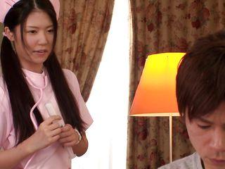 brunette japanese nurse gets aroused