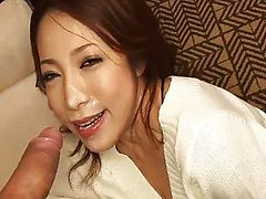 Hot jizz splatters all over Kanako face