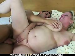 Old woman takes his young cock