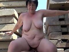 Granny Alena - Outdoor Fuck