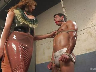 bound slave is smothered by shemale ass