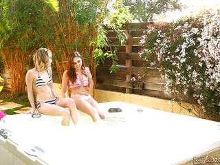 sexy chicks have fun in the hot tub
