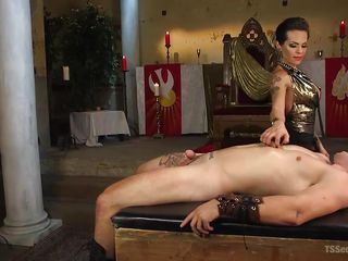 shemale mistress gets inside her slave's butt and throat