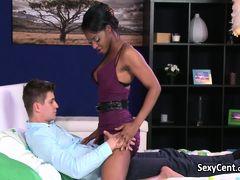 Ebony girl playing with big cock