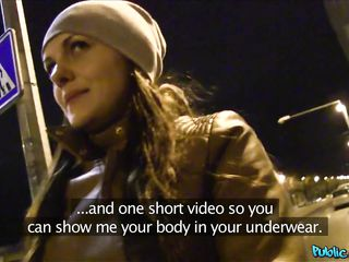 brunette with perfect tits picked up on the street