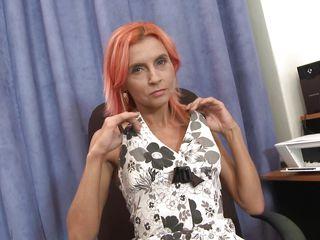 skinny red-haired mature woman masturbating