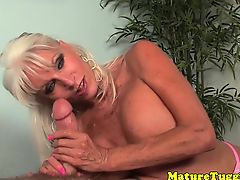 Bigtitted mature tugging on dick pov