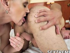 Blonde grandma knows how to bring hot stud to the climax