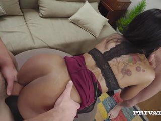 bubble butt ebony noemilk takes two huge cocks