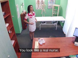 naughty nurse sucks on the doctor's cock