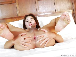 ladyboy beats off and cums hard