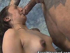Brunette Trish Kiss Getting Face Hammer Fucked By Two Guys