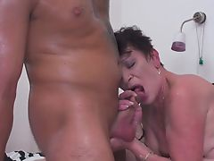 Boy cums into old granny hungry mouth