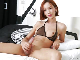 skinny ladyboy plays with her beautiful cock