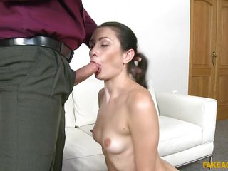sexy and lovely milf rides her agent's big cock