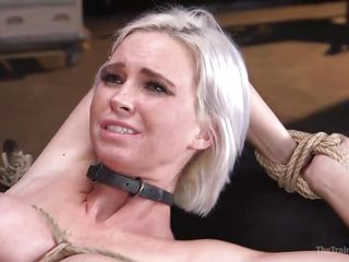bound blonde has a super strong orgasm