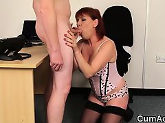 Flirty beauty gets cumshot on her face eating all the semen1