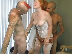 plump amateur redhead takes two