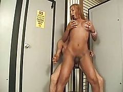 Brazilian Scream and Moan TS fucked in a porn shop