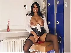 British Busty MILF Charmaine Sinclair fingers her arse