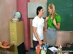 Teacher Tanya Tate teaches student Anthony Rosano all about sex