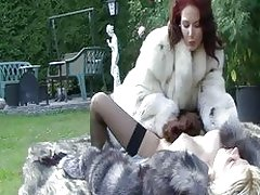 Fur loving babes licking outdoors