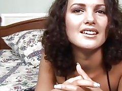 Sexy little slut milks a stiff dick
