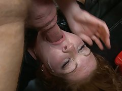 Blonde slut amber ashe mouth fucked in a messy way