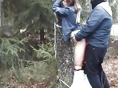 Babe is bound and fucked in the woods