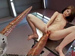 Naughty Brunette Gets a Loud Orgasm With Some Massive Dildoes