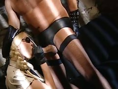 BDSM banging in some kind of prison between humilated cock and babe-guard
